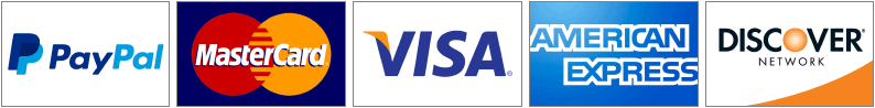 We accept PayPal, MasterCard, Visa, American Express, Discover