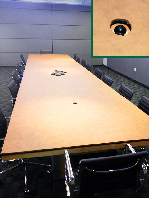 Conference table photo with cutout hole detail