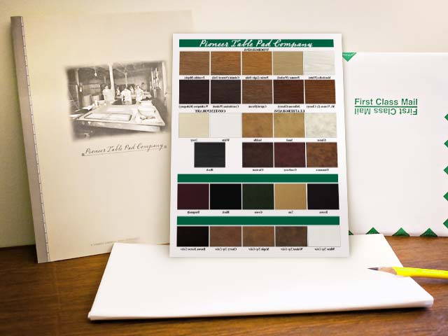 Pioneer Table Pad Company Free Brochure And Color Sample
