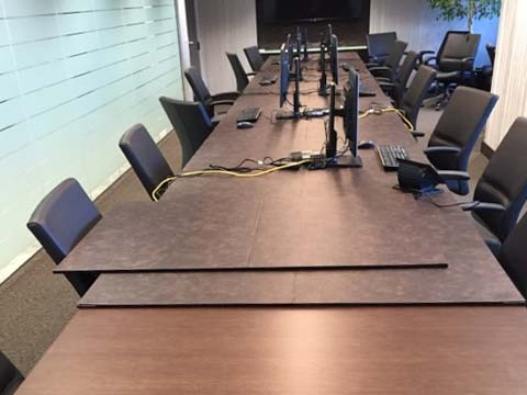Conference table pad with computers