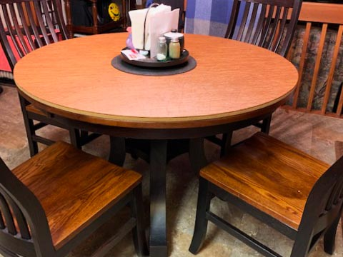 Round shaped oak wood dining table pad