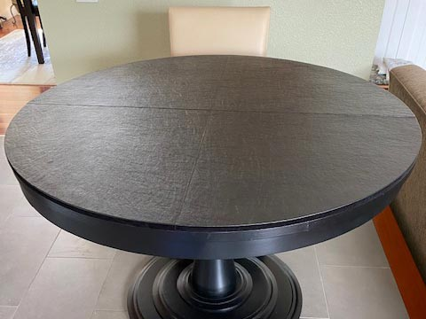 Round black dining room table protector pad