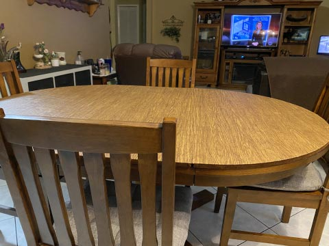 Oval oak wood dining room table protector pad