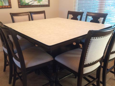 Square dining table protector pad with ivory white surface