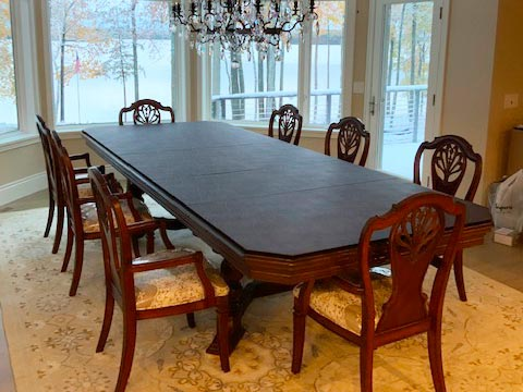 Dining table protector with custom angled corners