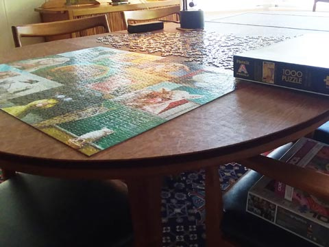 Dining table pad to protect table when doing puzzles