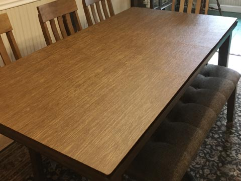 Rectangle dining table protector pad, in pecan woodgrain