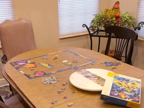 Protecting dining table for doing puzzles