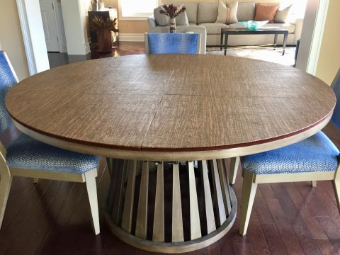 Circular table pad, in pecan woodgrain